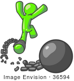 #36594 Clip Art Graphic Of A Lime Green Guy Character Breaking Free From A Ball And Chain