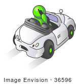 #36596 Clip Art Graphic Of A Lime Green Guy Character Talking On A Cell Phone And Driving