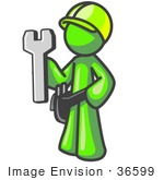 #36599 Clip Art Graphic Of A Lime Green Guy Character Holding A Spanner Tool