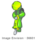 #36601 Clip Art Graphic Of A Lime Green Guy Character Operating A Jack Hammer