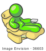 #36603 Clip Art Graphic Of A Lime Green Guy Character Resting In A Lazy Chair