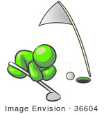 #36604 Clip Art Graphic of a Lime Green Guy Character Trying to Blow a Golf Ball Into a Hole by Jester Arts