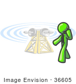 #36605 Clip Art Graphic Of A Lime Green Guy Character Using A Cell Phone By A Tower