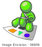 #36606 Clip Art Graphic of a Lime Green Guy Character Cutting Out Shapes by Jester Arts