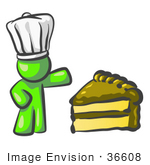 #36608 Clip Art Graphic Of A Lime Green Guy Character Chef With Chocolate Cake