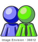 #36612 Clip Art Graphic Of A Lime Green Guy Character With A Blue Employee
