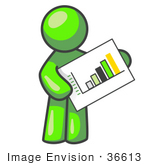 #36613 Clip Art Graphic of a Lime Green Guy Character Holding a Bar Graph by Jester Arts