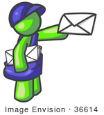 #36614 Clip Art Graphic Of A Lime Green Guy Character Delivering Mail