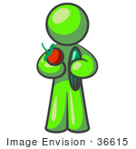 #36615 Clip Art Graphic Of A Lime Green Guy Character Holding Veggies