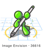 #36616 Clip Art Graphic Of A Lime Green Guy Character Drawing A Circle On Graph Paper