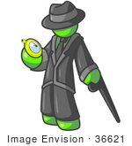#36621 Clip Art Graphic Of A Lime Green Guy Character With A Cane Checking A Pocket Watch