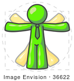 #36622 Clip Art Graphic of a Lime Green Guy Character Vitruvian Man by Jester Arts