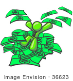 #36623 Clip Art Graphic Of A Lime Green Guy Character Jumping In A Pile Of Cash