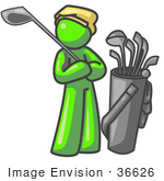 #36626 Clip Art Graphic Of A Lime Green Guy Character Golfing
