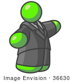 #36630 Clip Art Graphic of a Fat Lime Green Guy Character Pointing by Jester Arts