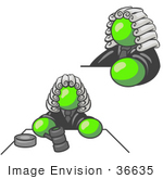 #36635 Clip Art Graphic Of A Lime Green Guy Character Judge