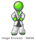 #36636 Clip Art Graphic Of A Lime Green Guy Character In A Karate Suit