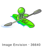 #36640 Clip Art Graphic Of A Lime Green Guy Character Kayaking