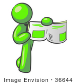 #36644 Clip Art Graphic Of A Lime Green Guy Character Holding And Showing A Story