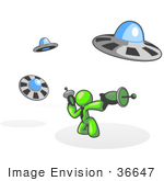 #36647 Clip Art Graphic Of A Lime Green Guy Character Fighting Ufos