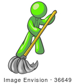 #36649 Clip Art Graphic Of A Lime Green Guy Character Mopping