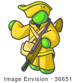 #36651 Clip Art Graphic Of A Lime Green Guy Character Hunting With A Rifle