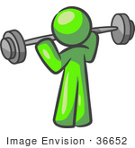 #36652 Clip Art Graphic Of A Lime Green Guy Character Working Out With A Barbell