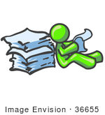 #36655 Clip Art Graphic of a Lime Green Guy Character Reading Paperwork by Jester Arts