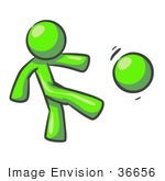 #36656 Clip Art Graphic Of A Lime Green Guy Character Kicking A Ball