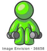 #36658 Clip Art Graphic Of A Lime Green Guy Character Working Out With Dumbbells