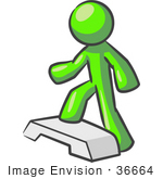 #36664 Clip Art Graphic Of A Lime Green Guy Character Doing Steps At The Gym