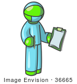 #36665 Clip Art Graphic Of A Lime Green Guy Character Surgeon In Scrubs