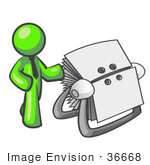 #36668 Clip Art Graphic of a Lime Green Guy Character With a Rolodex by Jester Arts