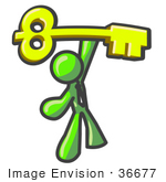 #36677 Clip Art Graphic Of A Lime Green Guy Character Holding Up A Skeleton Key