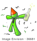 #36681 Clip Art Graphic Of A Lime Green Guy Character Partying