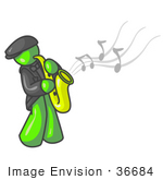 #36684 Clip Art Graphic Of A Lime Green Guy Character Playing Jazz Music With A Sax