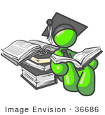 #36686 Clip Art Graphic of a Lime Green Guy Character Graduate Reading Books by Jester Arts