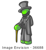 #36688 Clip Art Graphic Of A Lime Green Guy Character As Abraham Lincoln