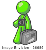 #36689 Clip Art Graphic Of A Lime Green Guy Character Tourist With A Camera And Luggage