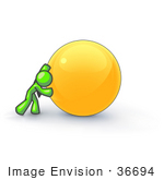 #36694 Clip Art Graphic of a Lime Green Guy Character Pushing Yellow Ball by Jester Arts