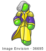 #36695 Clip Art Graphic Of A Lime Green Guy Character As George Washington