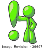 #36697 Clip Art Graphic Of A Lime Green Guy Character With An Exclamation Point