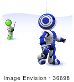 #36698 Clip Art Graphic Of A Lime Green Guy Character Controlling A Robot