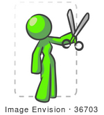 #36703 Clip Art Graphic Of A Lime Green Lady Character Cutting Coupons