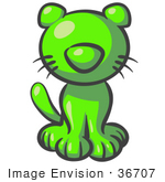 #36707 Clip Art Graphic Of A Lime Green Cat