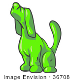 #36708 Clip Art Graphic Of A Lime Green Dog Sniffing Or Howling