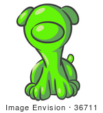 #36711 Clip Art Graphic Of A Lime Green Dog