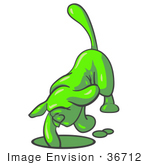 #36712 Clip Art Graphic Of A Lime Green Dog Digging