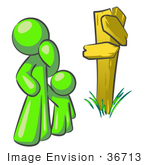 #36713 Clip Art Graphic Of A Lime Green Guy Character And Child At A Crossroads