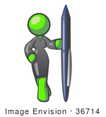 #36714 Clip Art Graphic of a Lime Green Lady Character Standing With a Pen by Jester Arts